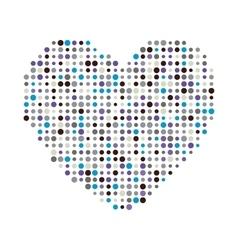 Multicolor dots heart icon vector