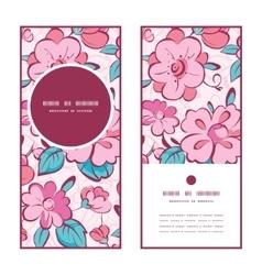 Pink blue kimono flowers vertical round vector
