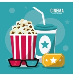 pop corn soda movie film cinema icon vector image vector image