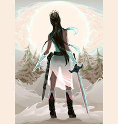 Princess warrior in the wood vector