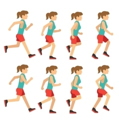 Running woman female runner animation frame loop vector image vector image