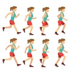 Running woman female runner animation frame loop vector