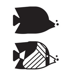 tropical fish outline icon or logo vector image