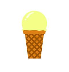 Vanilla scooped ice cream simple flat vector