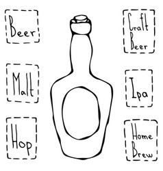 vintage beer bottle hand drawn vector image vector image