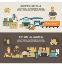 Warehouse storeroom flat banners composition vector image vector image