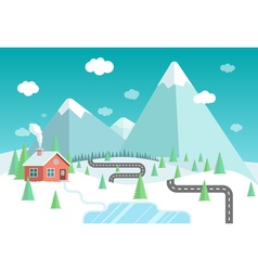 Winter landscape with mountains forest and lake vector image vector image