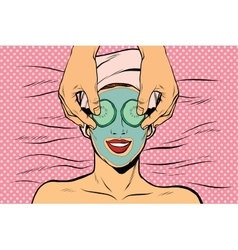 Woman with fruit beauty mask vector