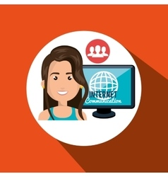 Woman internet connected global vector