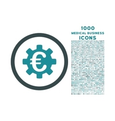 Euro machinery rounded icon with 1000 bonus icons vector