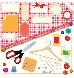 Collection of labels sewing and knitting tools vector image