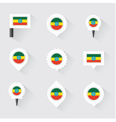 Ethiopia flag and pins for infographic and map vector