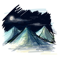 Night landscape sketch vector image