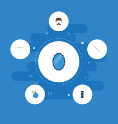 Flat icons moustache hairspray looking-glass and vector