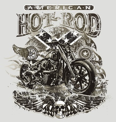 American hot rod motorcycle vector