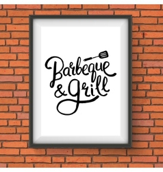 Barbecue and grill restaurant sign on brick wall vector