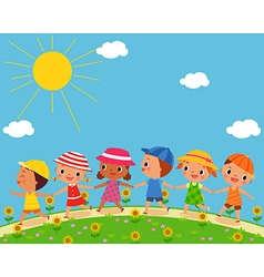 Children walk on a beautiful summer day vector