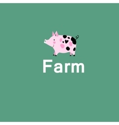 Pink pig on a farm vector