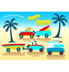Animals driving to the beach beep beep vector