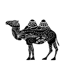 Camel silhouette with tribal ornaments isolated vector