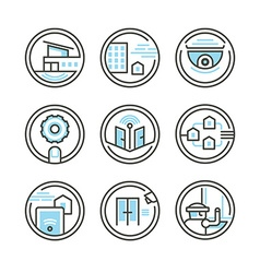 Set of residential security icons vector