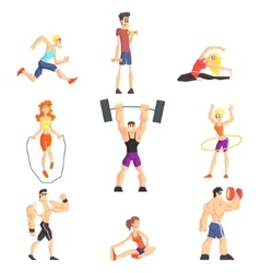 Gym people set vector
