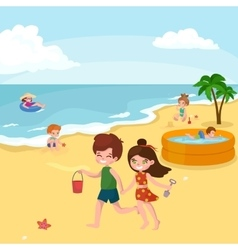 Fun at beach happy kids plaing sand around water vector