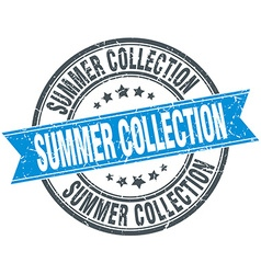Summer collection blue round grunge vintage ribbon vector