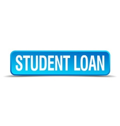 Student loan blue 3d realistic square isolated vector