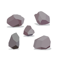 Big rock stone cartoon in isometric 3d flat style vector