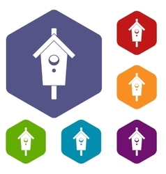 Birdhouse icons set vector image