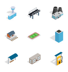 City elements icons isometric 3d style vector