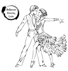 Dance line ballroom dancing latina vector