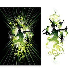 Dark and light jumping people vector