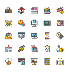 finance icons 4 vector image vector image