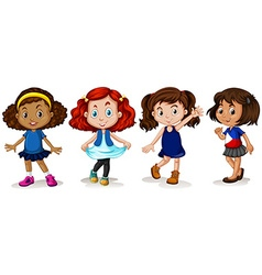 Four girls with happy face vector image vector image