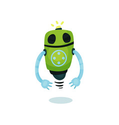 green friendly robot artificial intelligence vector image vector image