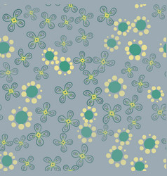 Green garden with stylized flowers vector