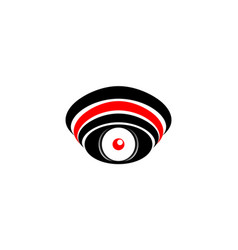 Logo symbol abstract eye with a red pupil with a vector