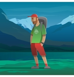 Man with red cap and backpack in the mountains vector image