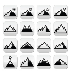 Mountains buttons set vector image vector image