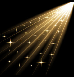 Rays of light with stars golden color vector