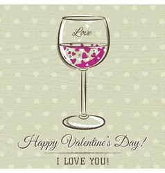 Romantic card with glass of wine vector