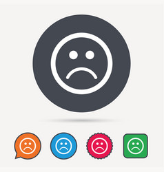 sad smiley icon bad feedback sign vector image