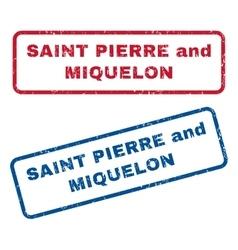 Saint pierre and miquelon rubber stamps vector