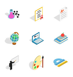 School icons isometric 3d style vector