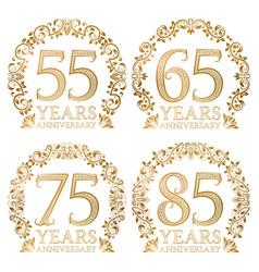 set of golden anniversary seals 55 65 75 85 vector image vector image