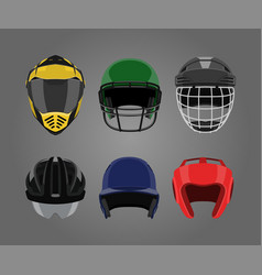 Set of sports helmets on a gray background vector