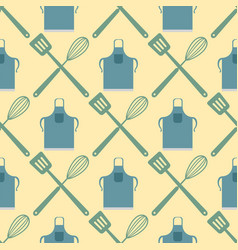 spatula whisk seamless pattern cooking badge vector image