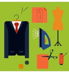 Tailor tools and accessories in flat style vector